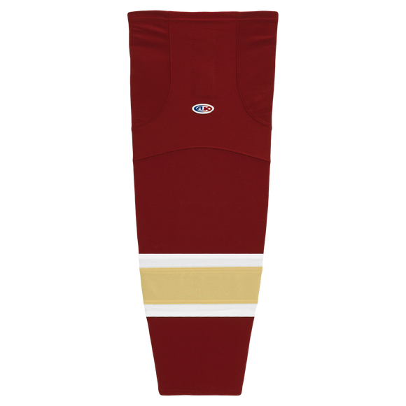 Athletic Knit (AK) HS2100-542 AV Red/White/Vegas Gold Mesh Cut & Sew Ice Hockey Socks