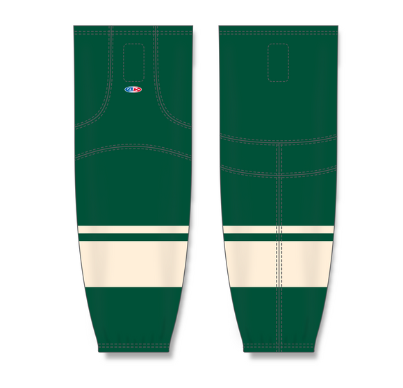 Athletic Knit (AK) HS2100 2009 Minnesota Wild Third Dark Green Mesh Cut & Sew Ice Hockey Socks - PSH Sports