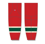 Athletic Knit (AK) HS2100 2007 Minnesota Wild Red Mesh Cut & Sew Ice Hockey Socks - PSH Sports