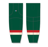 Athletic Knit (AK) HS2100 2016 Minnesota Wild Stadium Series Dark Green Mesh Cut & Sew Ice Hockey Socks - PSH Sports