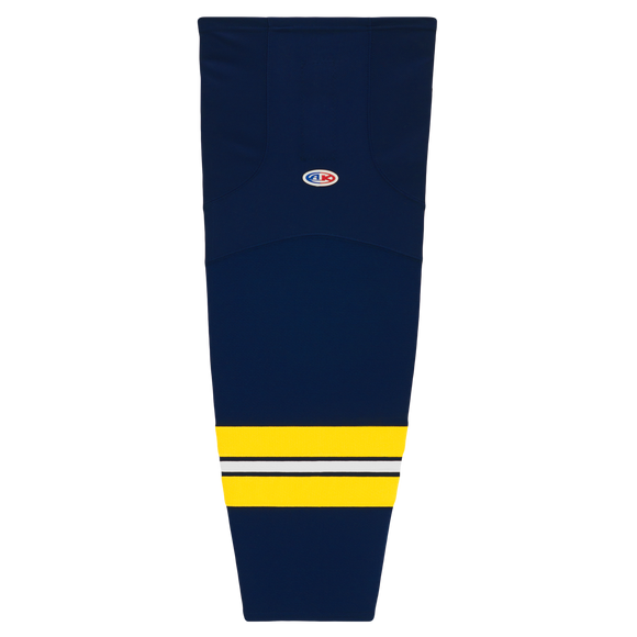 Athletic Knit (AK) HS2100-589 2011 University of Michigan Wolverines Navy Mesh Cut & Sew Ice Hockey Socks