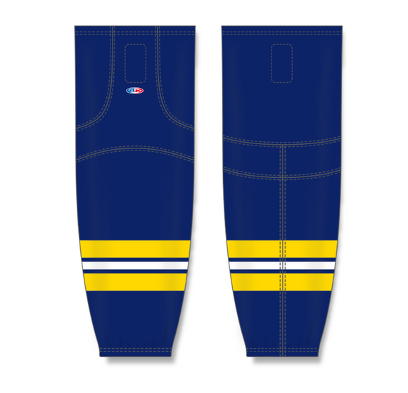 Athletic Knit (AK) HS2100 2011 University of Michigan Wolverines Navy Mesh Cut & Sew Ice Hockey Socks - PSH Sports