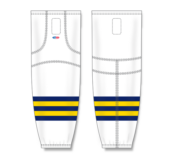 Athletic Knit (AK) HS2100 2011 University of Michigan Wolverines White Mesh Cut & Sew Ice Hockey Socks - PSH Sports