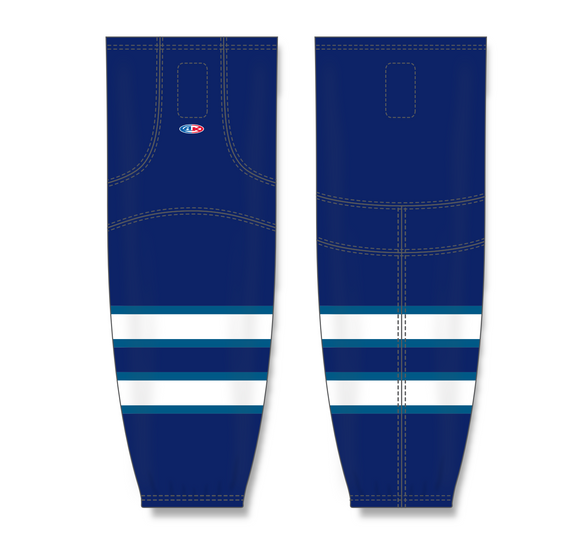 Athletic Knit (AK) HS2100 2011 Winnipeg Jets Navy Mesh Cut & Sew Ice Hockey Socks - PSH Sports