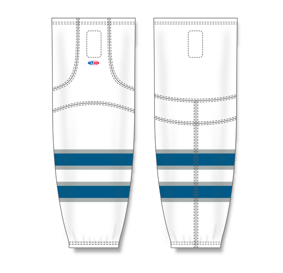 Athletic Knit (AK) HS2100 2011 Winnipeg Jets White Mesh Cut & Sew Ice Hockey Socks - PSH Sports