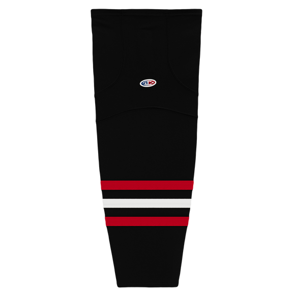 Athletic Knit (AK) HS2100 New Chicago Blackhawks Third Black Mesh Cut & Sew Ice Hockey Socks