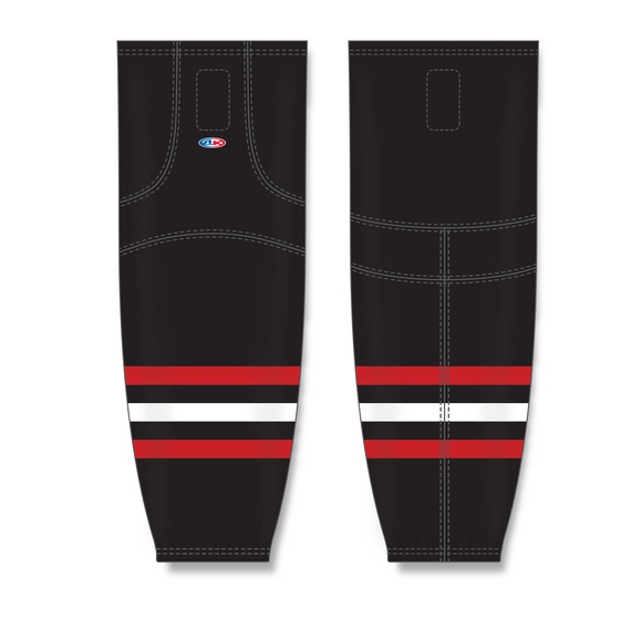 Athletic Knit (AK) HS2100 New Chicago Blackhawks Third Black Mesh Cut & Sew Ice Hockey Socks - PSH Sports