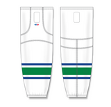 Athletic Knit (AK) HS2100 2004 Vancouver Canucks White Mesh Cut & Sew Ice Hockey Socks - PSH Sports