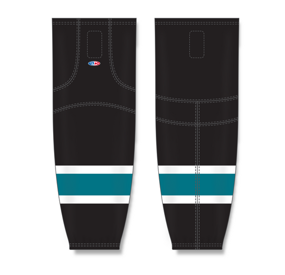 Athletic Knit (AK) HS2100 2008 San Jose Sharks Third Black Mesh Cut & Sew Ice Hockey Socks - PSH Sports