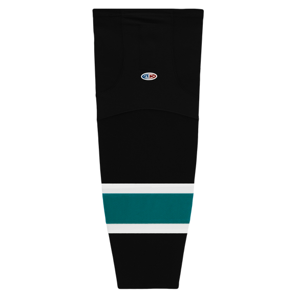 Athletic Knit (AK) HS2100-634 2008 San Jose Sharks Third Black Mesh Cut & Sew Ice Hockey Socks