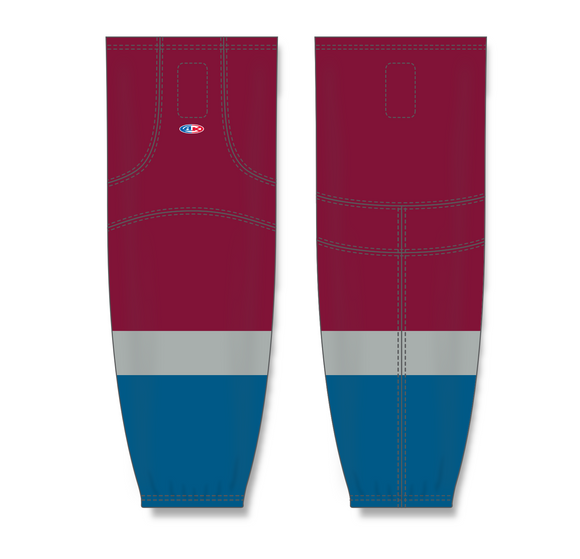 Athletic Knit (AK) HS2100 2011 Colorado Avalanche Cardinal Red Mesh Cut & Sew Ice Hockey Socks - PSH Sports
