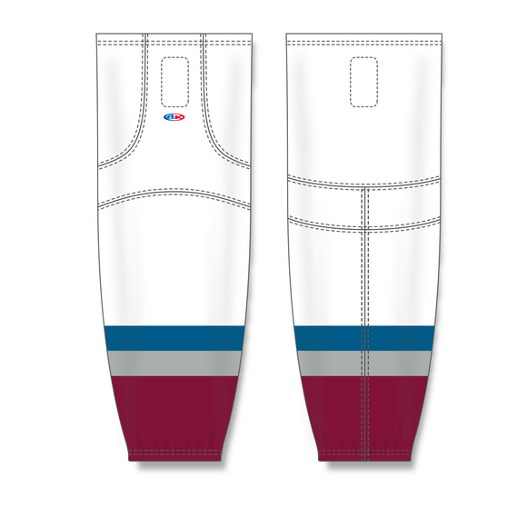 Athletic Knit (AK) HS2100 2011 Colorado Avalanche White Mesh Cut & Sew Ice Hockey Socks - PSH Sports