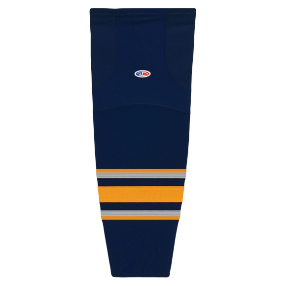 Athletic Knit (AK) HS2100-810 2009 Buffalo Sabres Third Navy Mesh Cut & Sew Ice Hockey Socks