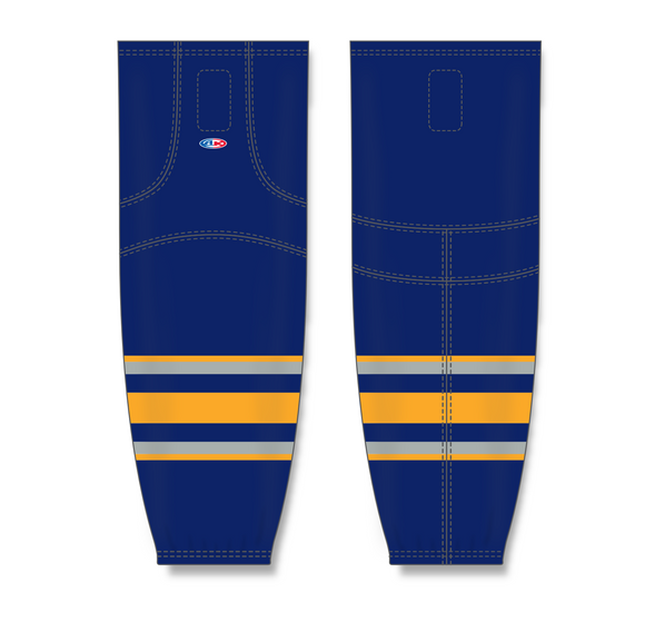 Athletic Knit (AK) HS2100 2009 Buffalo Sabres Third Navy Mesh Cut & Sew Ice Hockey Socks - PSH Sports
