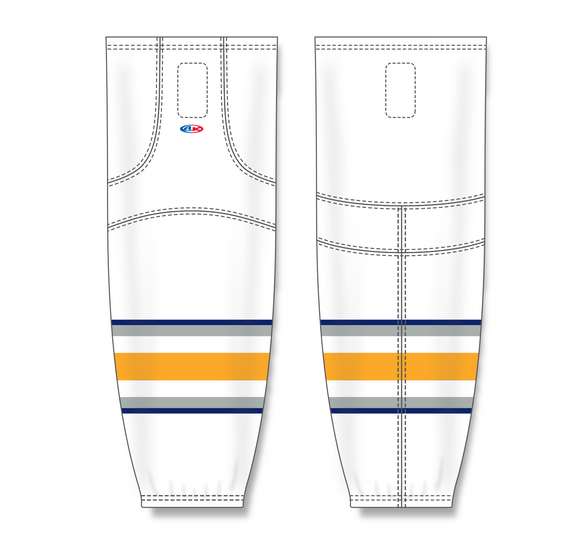 Athletic Knit (AK) HS2100 2009 Buffalo Sabres Third White Mesh Cut & Sew Ice Hockey Socks - PSH Sports