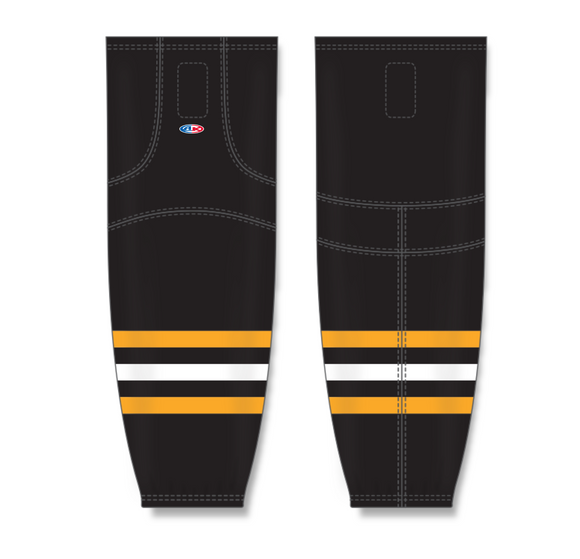 Athletic Knit (AK) HS2100 2014 Pittsburgh Penguins Third Black Mesh Cut & Sew Ice Hockey Socks - PSH Sports