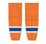 Athletic Knit (AK) HS2100 2015 Edmonton Oilers Third Orange Mesh Cut & Sew Ice Hockey Socks - PSH Sports