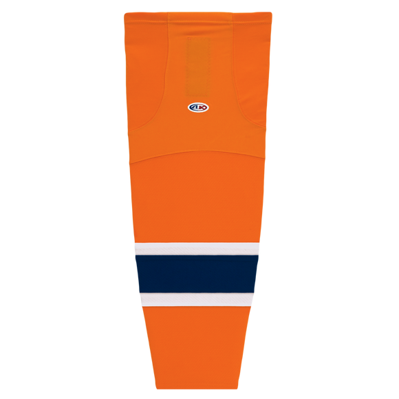 Athletic Knit (AK) HS2100-819 2015 Edmonton Oilers Third Orange Mesh Cut & Sew Ice Hockey Socks