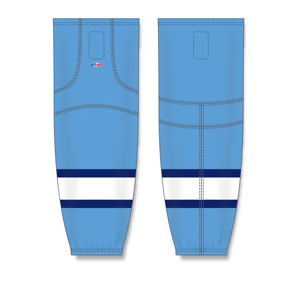 Athletic Knit (AK) HS2100 2008 Pittsburgh Penguins Third Sky Blue Mesh Cut & Sew Ice Hockey Socks - PSH Sports