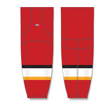 Athletic Knit (AK) HS2100 2013 Calgary Flames Red Mesh Cut & Sew Ice Hockey Socks - PSH Sports