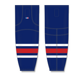 Athletic Knit (AK) HS2100 2010 Columbus Blue Jackets Navy Mesh Cut & Sew Ice Hockey Socks - PSH Sports