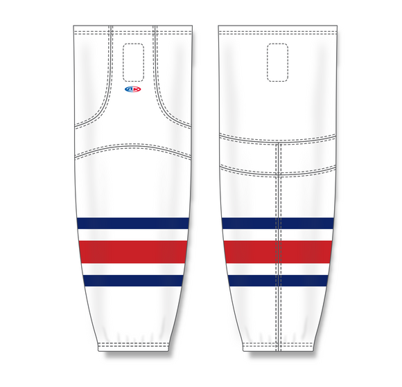 Athletic Knit (AK) HS2100 2010 Columbus Blue Jackets White Mesh Cut & Sew Ice Hockey Socks - PSH Sports