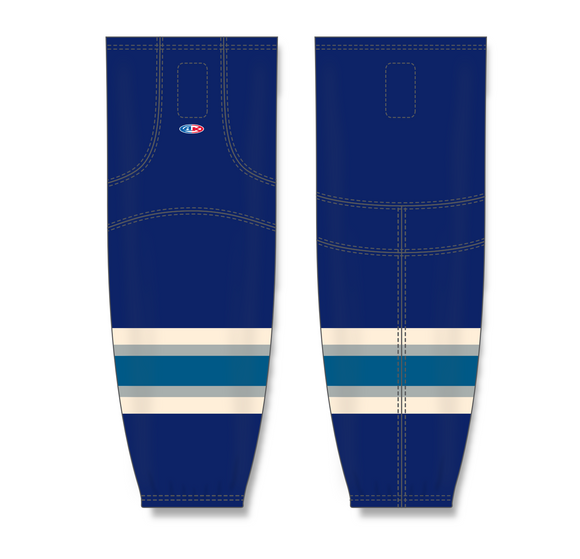 Athletic Knit (AK) HS2100 2010 Columbus Blue Jackets Third Navy Mesh Cut & Sew Ice Hockey Socks - PSH Sports