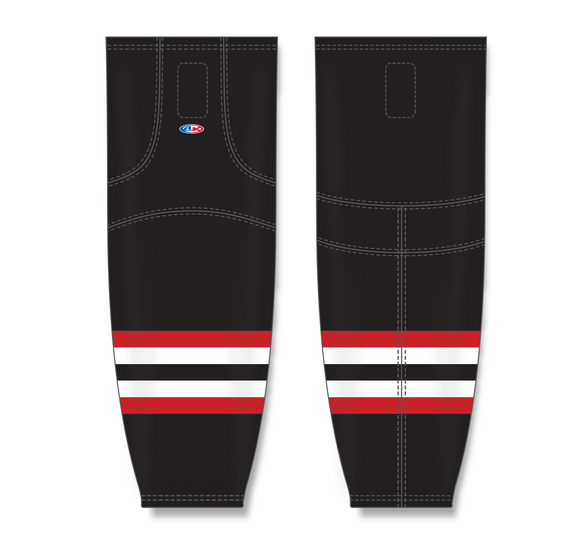 Athletic Knit (AK) HS2100 2009 Ottawa Senators Third Black Mesh Cut & Sew Ice Hockey Socks - PSH Sports