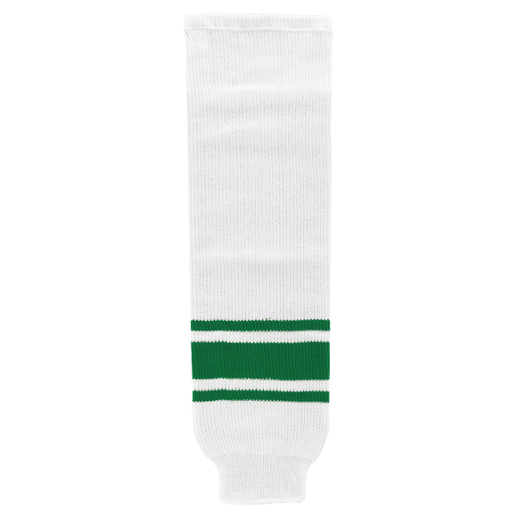Athletic Knit (AK) HS630 White/Kelly Green Knit Ice Hockey Socks