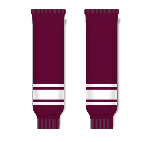 Athletic Knit (AK) HS630 Maroon/White Knit Ice Hockey Socks - PSH Sports