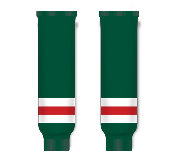 Athletic Knit (AK) HS630 Dark Green/White/Red Knit Ice Hockey Socks - PSH Sports