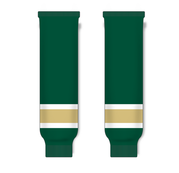 Athletic Knit (AK) HS630 Dark Green/White/Vegas Gold Knit Ice Hockey Socks - PSH Sports