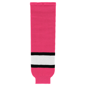 Athletic Knit (AK) HS630-272 Pink/White/Black Knit Ice Hockey Socks