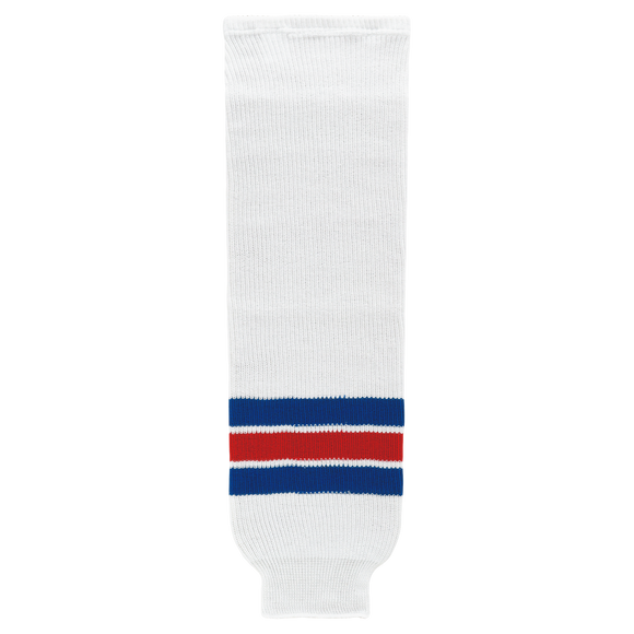 Athletic Knit (AK) HS630-313 New York Rangers White Knit Ice Hockey Socks