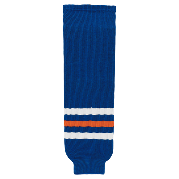 Athletic Knit (AK) HS630-320 Edmonton Oilers Royal Blue Knit Ice Hockey Socks