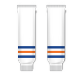 Athletic Knit (AK) HS630 Edmonton Oilers White Knit Ice Hockey Socks - PSH Sports
