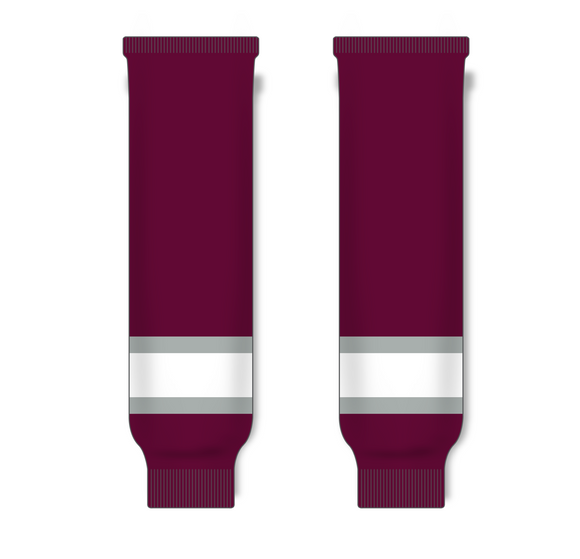 Athletic Knit (AK) HS630 Maroon/Grey/White Knit Ice Hockey Socks - PSH Sports