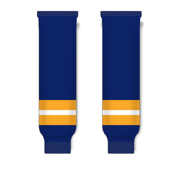 Athletic Knit (AK) HS630 University of Michigan Wolverines Navy Knit Ice Hockey Socks - PSH Sports