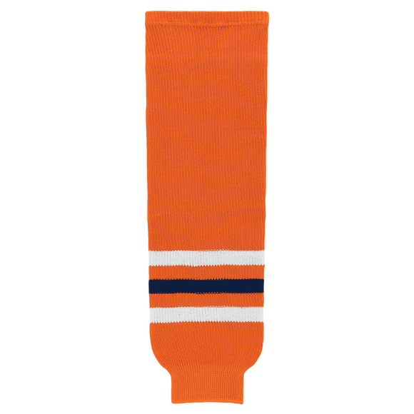 Athletic Knit (AK) HS630-369 2017 Edmonton Oilers Orange Knit Ice Hockey Socks
