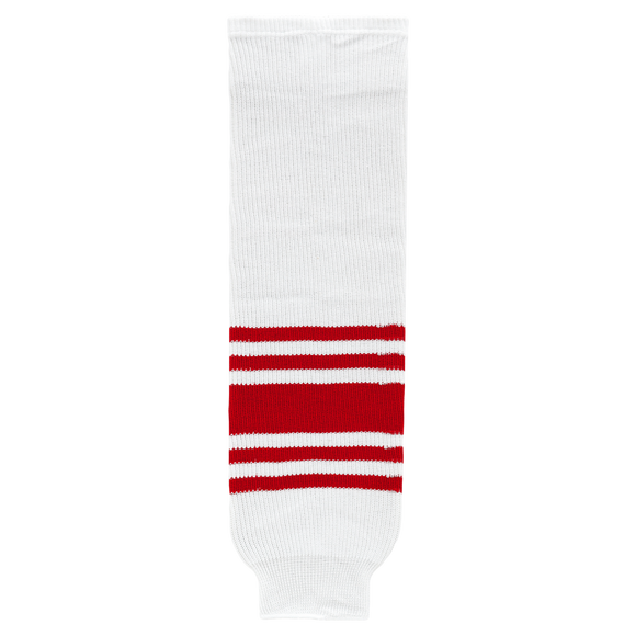 Athletic Knit (AK) HS630-405 Detroit Red Wings Retro White Ice Hockey Socks
