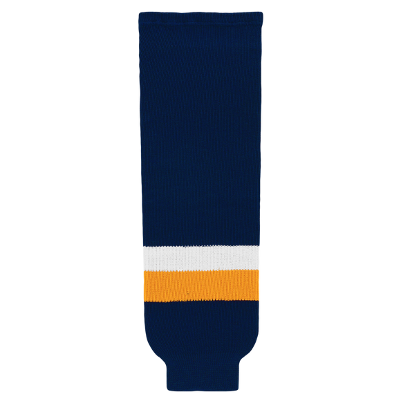 Athletic Knit (AK) HS630-422 Navy/Gold/White Ice Hockey Socks