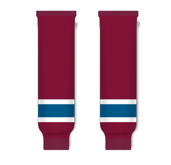 Athletic Knit (AK) HS630 Cardinal Red/Capital Blue/White Ice Hockey Socks - PSH Sports