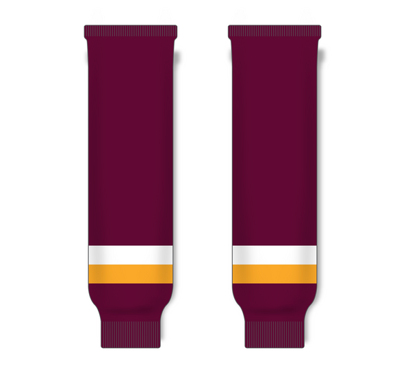Athletic Knit (AK) HS630 Maroon/Gold/White Ice Hockey Socks - PSH Sports