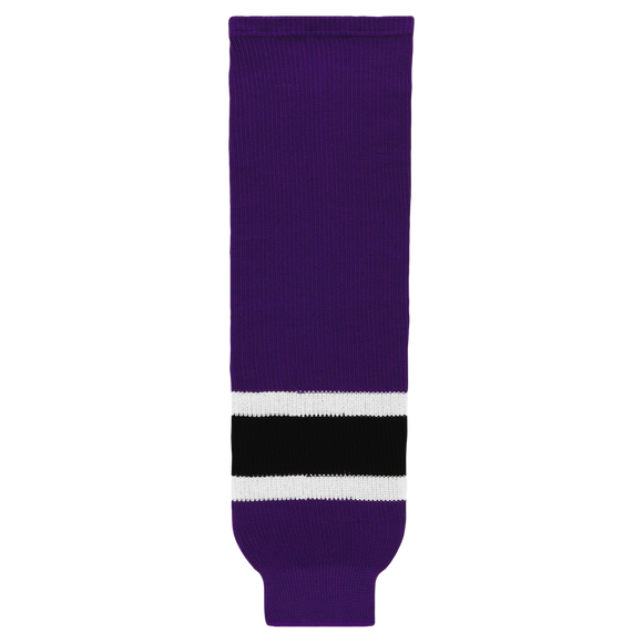 Athletic Knit (AK) HS630 Purple/White/Black Ice Hockey Socks