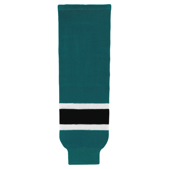 Athletic Knit (AK) HS630-457 Pacific Teal/White/Black Ice Hockey Socks