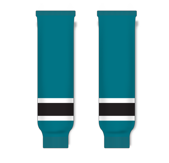 Athletic Knit (AK) HS630 Pacific Teal/White/Black Ice Hockey Socks - PSH Sports