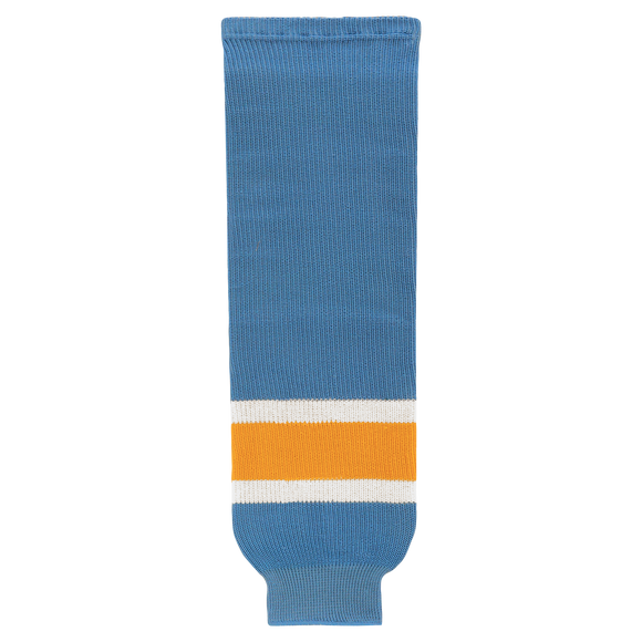 Athletic Knit (AK) HS630-473 Sky Blue/White/Gold Ice Hockey Socks