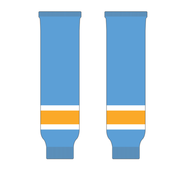 Athletic Knit (AK) HS630 Sky Blue/White/Gold Ice Hockey Socks - PSH Sports