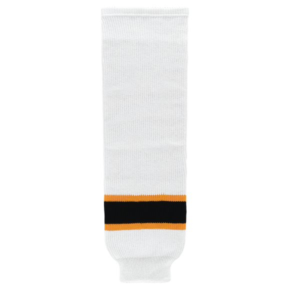 Athletic Knit (AK) HS630-499 2007 Boston Bruins White Knit Ice Hockey Socks