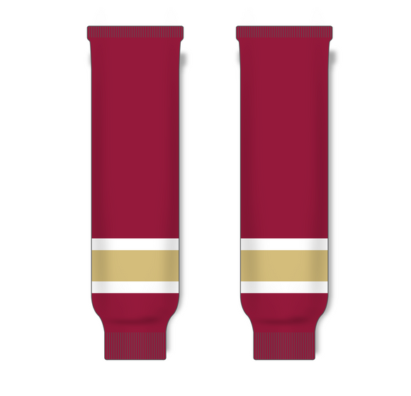 Athletic Knit (AK) HS630 AV Red/White/Gold Ice Hockey Socks - PSH Sports